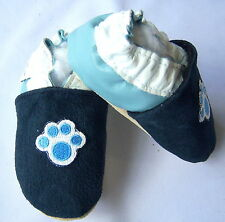 Moxies handmade soft soled leather shoes navy baby blue PUPPY shoes pick size