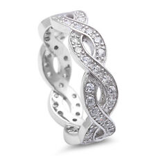 TOP SELLER! Cz Infinity Design Eternity Style .925 Sterling Silver Band 5-10