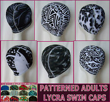 Adults LYCRA SWIMMING CAP - BLACK & WHITE PATTERN  Stunning Swim Hat ADULT - NEW