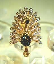 Fantastic Colorful Crystal Peacock Fashion Ring Various Colors Size 7.5 to 9.5