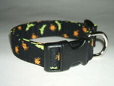 HALLOWEEN BATS AND SPIDERS  DOG COLLAR (YOU PICK THE SIZE)