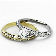 0.75ct Two Tone Gold Stainless Steel CZ Wedding Engagement Marriage Ring SET