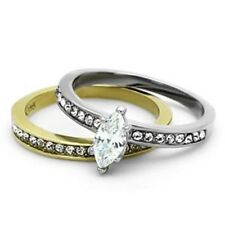 Marquise CZ 2 Tone Gold Ion Plated Stainless Steel Wedding Ring Set SZ 5-10