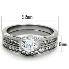 Clear AAA CZ Never Tarnish Stainless Steel Wedding/Engagement RING SET SZ 5-10