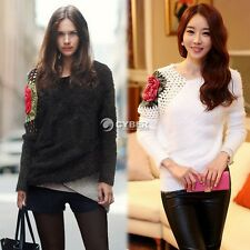 Women's Long Sleeve Hollow Tops Flower Round Neck Sweater Knitwear Pullover