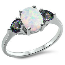 BEST SELL!White Australian FIRE Opal & Topaz .925 Sterling Silver Ring SIZE 4-10