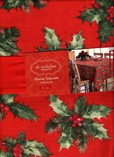 Tablecloth Christmas Red Holly Berry Tablecloth Oblong Holiday 60 x 102 Long NEW