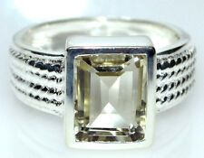 Emerald cut green Amethyst Sterling Silver Ring New 925 Rings Size 5½ L to 10, U