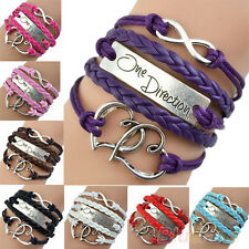 NW One Direction Love Heart Hand-knitted Leather Charms Bracelet Friendship B14U