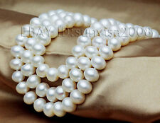s376 Strand/String 7-8mm white AAA+ grade akoya cultured pearl necklace