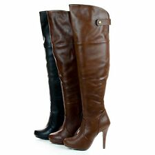 Salty1 Faux Leather Women stiletto heel over knee Thigh High Zipper boots