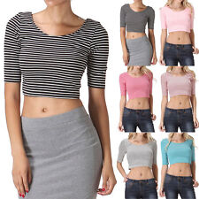 Half Sleeve Thin Striped Scoop Neck and Back Cropped Top Cute and Sexy S M L