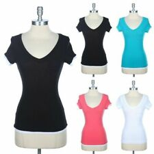 V Neck Short Sleeve Top with 2-Fer Detail Casual T Shirt Chest Pocket Span S M L