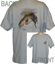 STRIPER W/CREST FISHING FISHERMAN FISH GEAR APPAREL WEAR GRAPHIC PRINTED T-SHIRT