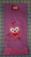 Valentine's Day Heart Owl Branch Hand Towel Purple Pink Hoo Loves You Ruffle NEW