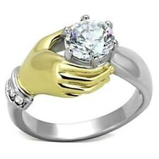 Two Tone Gold IP Stainless Steel Womens Clear CZ Engagement Ring SZ 5,6,7,8,9,10