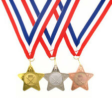 45mm Metal Hockey Star Medal-Gold, Silver or Bronze-FREE POSTAGE-FREE