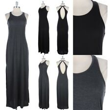 Big Keyhole Open Back Maxi Dress Full Length Long Solid Sleeveless Sexy S M L
