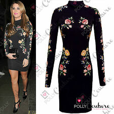Womens Celeb Black Floral Lace Long Sleeve Bodycon Ladies Party Evening Dress