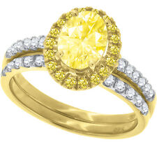Ladies .925 Silver Oval Canary Solitaire Lab Diamond Ring in Yellow Gold Finish
