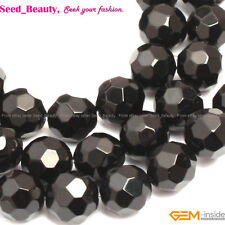 "AA natural round faceted black agate onyx gemstone loose beads 15"" size pick"