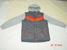 NWT Boys Pacific Trail Layered Look Vest 2 Tone Gray With Orange Sporty Coat