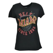 Unk NBA Miami Heat Distressed Bedazzled Women Ladies Tshirt Basketball Tee