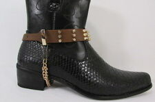 New Men Women Fashion Boot Shoe Black Strap Gold Silver Rhinestones Metal Chains
