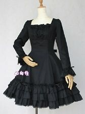 FJ634 black cosplay cotton long sleeves lolita dress victorian gothic