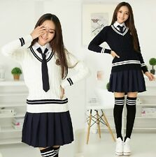J613 NAVY WHITE SHORT SKIRT COSPLAY COTTON LONG SLEEVES SCHOOL UNIFORM BOW TIE N