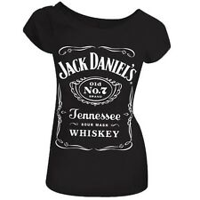 Official Skinny T Shirt JACK DANIELS Black CLASSIC LOGO Top All Sizes