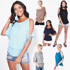 Womens Oversized Batwing Split Off Shoulder Sleeve Baggy Long Top Tunic Party