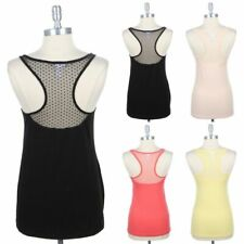 Scoop Neck Solid Front and Dotted Mesh Racerback Tank Top Sleeveless Cute S M L
