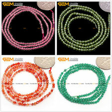 Tiny 2mm round faceted gemstone jewelry making seed beads 15 inches 6 materials