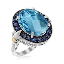 18K Yellow Gold & Sterling Silver Blue Topaz and Blue Sapphire Oval Ring