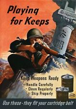 2W69 Vintage WWII Keep Weapons Ready Wartime War Poster WW2 A2 A3 A4