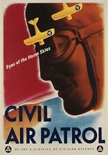 2W8 Vintage WWII Civil Air Patrol War Defence Military Poster WW2 A1 A2 A3 A4