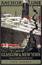 TX196 Vintage Anchor Line Glasgow New York Shipping Travel Poster A2/A3/A4