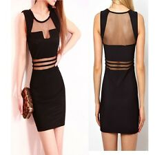 Women Lady Sexy Clubbing Wear Cocktail Party Dress Slim See-through Blouses