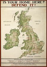 WA35 Vintage Britain Map Your Home Defend It Recruitment Poster WW1 A1/A2/A3/A4