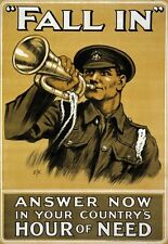 WA76 Vintage WWI Fall In British Army War Recruitment Poster WW1 A1/A2/A3/A4