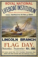 WA24 Vintage WWI Lincoln Lifeboat Buy A Flag British War Poster A1/A2/A3/A4