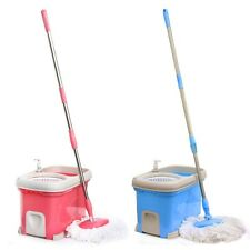 Deluxe 360 Bucket 2 Heads Magic Mop Micro Fiber Spinning Rotating Head PINK/BLUE