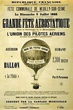 AZ26 Vintage 1885 Grande Fete Aerostatique Hot Air Balloon Poster A1/A2/A3/A4