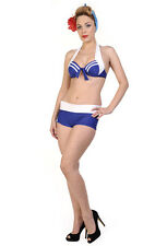 Banned Apparel Blue Retro Nautical Halterneck Two Piece Bikini Swimwear Set