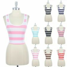 Two Colors Striped Sleeveless Scoop Neck Cropped Tank Top Racerback Cotton S M L