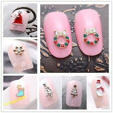 10 Pcs 3D Alloy Rhinestone Christmas Nail Art Tips DIY Decoration For Festival