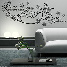 LIVE LAUGH LOVE Wall Art Sticker Lounge Room Quote Decal Mural Stencil Transfer