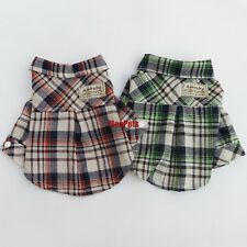 Gentleman Plaid Dog Shirts Dog Polo Shirt Dog Clothes Pet Apparel XS S M L XL