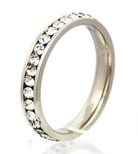 New Women Fashion Stainless Steel CZ Stones Engagement Anniversary Band Ring